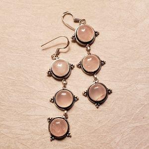 Rose quartz sterling silver dangle earrings